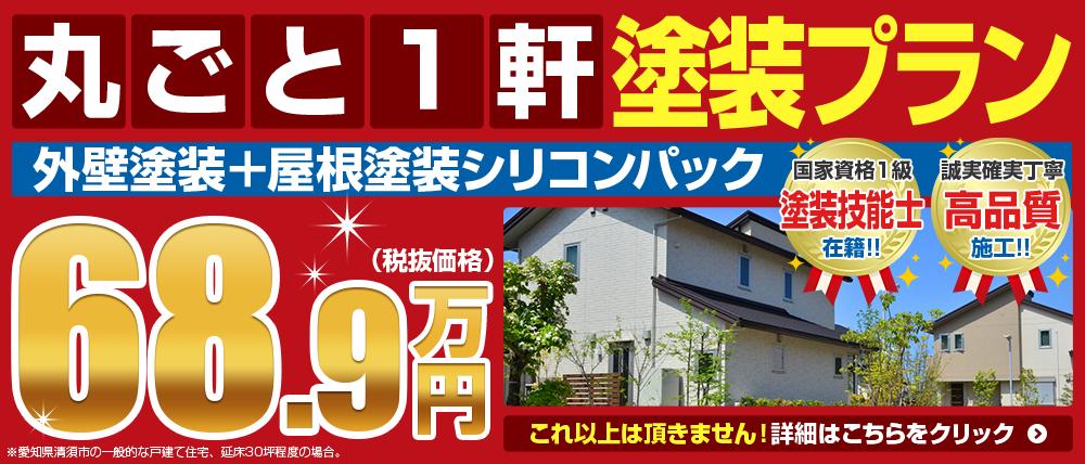 丸ごと1軒塗装プラン 外壁屋根塗装シリコンパック68.9万円