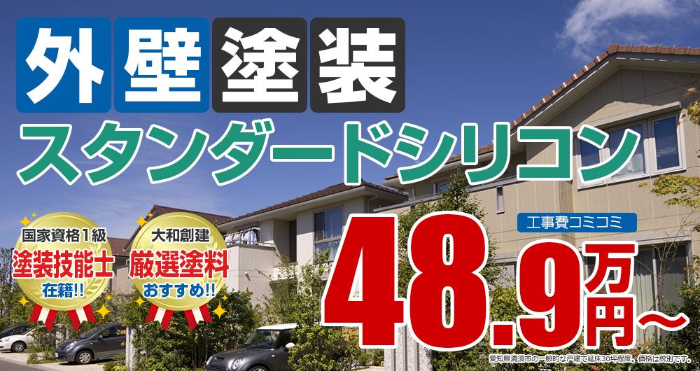 清須市の外壁塗装メニュー スタンダードシリコン塗装 48.9万円