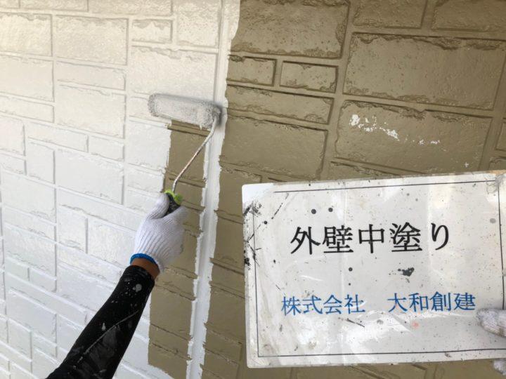 外壁塗装工事(中塗り)