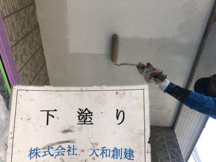 軒天塗装工事(下塗り)