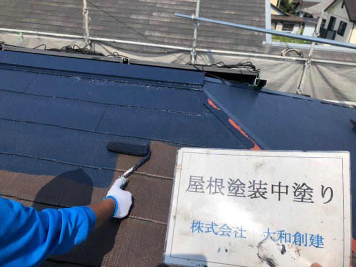 屋根塗装工事(中塗り)