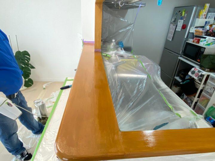 知立市 G様 キッチンカウンター塗装工事