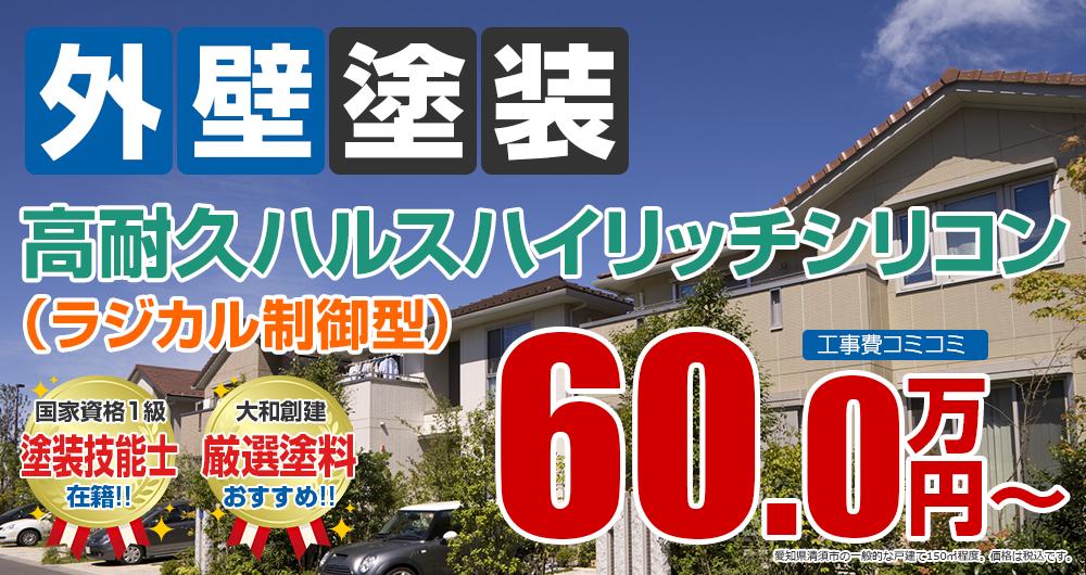 清須市の外壁塗装メニュー 高耐久ラジカル制御型シリコン塗装 60.0万円~