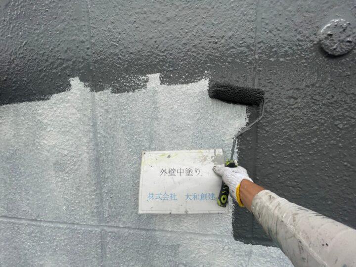 外壁塗装中塗り(側面)