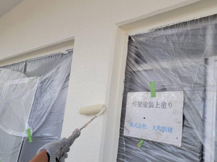 ベランダ外壁塗装上塗り