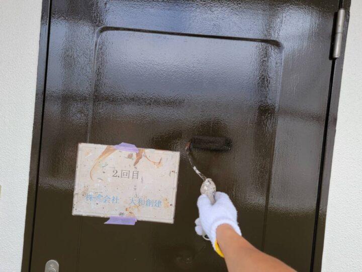 玄関ドア塗装2回目