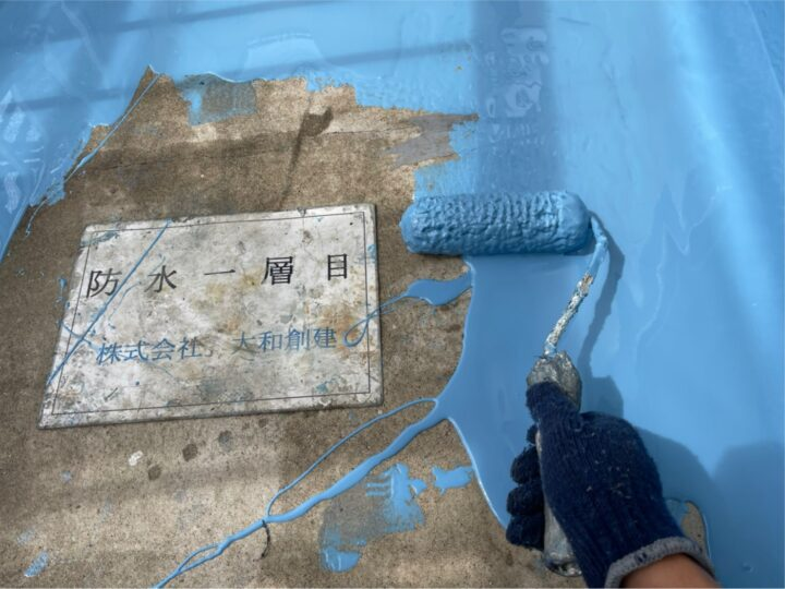ベランダ防水塗装1層目
