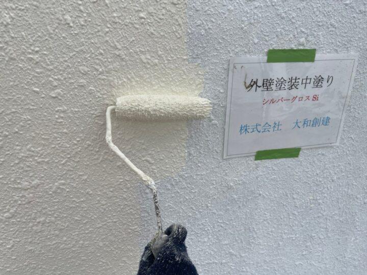 通路面外壁塗装中塗り